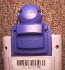 A blue Gameboy Camera in a grey DMG-01.